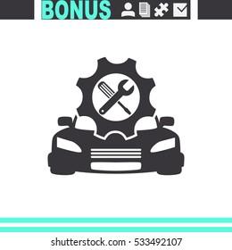 Car service vector icon. Auto repair sign.
