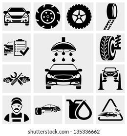 Car service vector icon set.