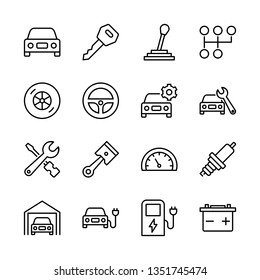 Car Service Vector Line Icons Set. Battery, Diagnostics, Engine, Fuel, Garage and more. Editable Stroke