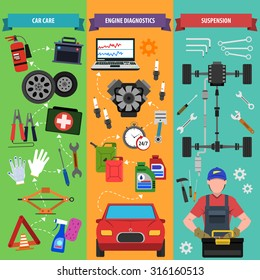 Car service vertical banner set with engine diagnostics elements isolated vector illustration