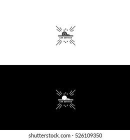 Car service wheel flames logo design hipster vintage inverse variant