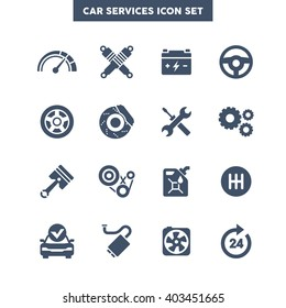 Car Services icon set, Vehicle maintenance graphic vector Symbols.