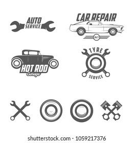 Car servise emblems, badges, elements. Vector graphic