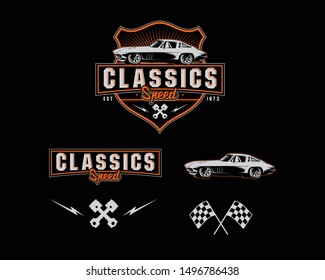 Car set collection in classic logo sport