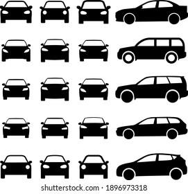 Car set icon, logo isolated on white background