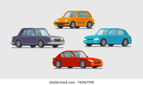 Car set of icons. Vehicle, transport, parking, garage concept. Cartoon vector illustration