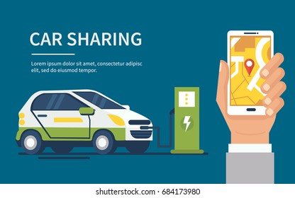 Car sharing concept banner. Flat style vector illustration.