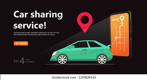 Car sharing concept. Business man with smartphone and  rent car. Parking service website template. Online transport service rent. Online car sharing and cartoon character on black background. Isolated
