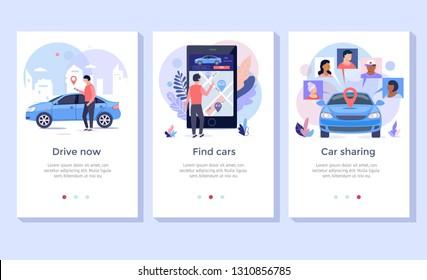 Car sharing concept illustration set, perfect for banner, mobile app, landing page