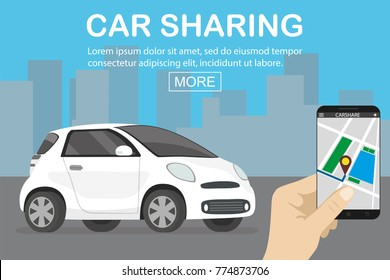 car sharing concept, white car and hand holding smartphone with carsharing app, flat vector illustration