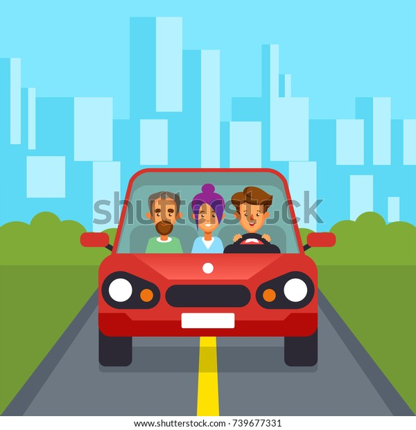 Car Sharing Group People Car Pooling Stock Vector Royalty Free