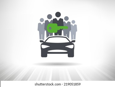 Car Sharing. Group of people with shared key behind car