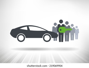 Car Sharing. Group of people with shared key next to car