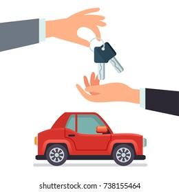 Car sharing Hand giving car keys