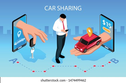 Car sharing horizontal isometric composition with mobile smartphone apps handing over vehicle key to customer vector illustration