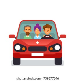 Car sharing icon with flat characters Vector illustration