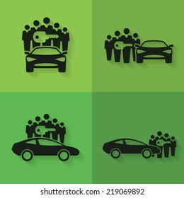 Car Sharing Icons. Set of four icons with groups of people with shared key next to or behind cars