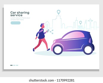 Car sharing and rent service advertising web page template. A man with a smartphone standing near the car. Modern landing page for mobile app. Business website concept.On-line rent