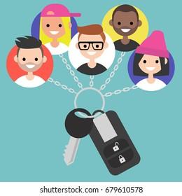 Car sharing service conceptual illustration / flat editable vector, clip art