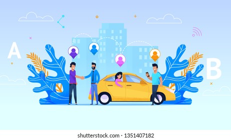 Car Sharing Service Illustration. Yellow Taxi with Girl. Infografic Destination Points and Transitional Geolocation. Man with Smartphone Meet each other. Automobile Pooling Service.