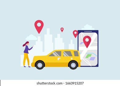 Car sharing service. mobile city transportation vector illustration concept for web landing page template, banner, flyer and presentation.