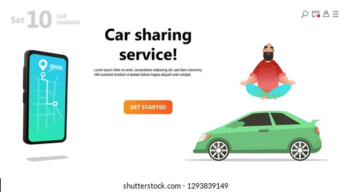 Car sharing service. Yoga calm man and car. Mobile city transportation concept,  Online car sharing with cartoon character and screen smartphone. Map on screen smartphone. Vector