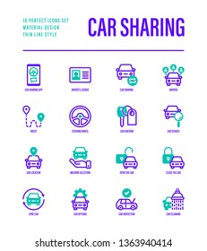 Car sharing set. Mobile app on smartphone, driver license, toute, key, car inspection, route, open and close car, sync thin line icons. Vector illustration.
