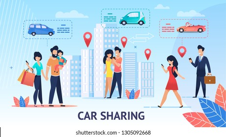 Car Sharing. Short Trips for Family Inside City. Vector Illustration. View around City Comfortable Electric Car. Modern Mobile Application Ordering free Car. Per Minute Rental of Electric Vehicles.