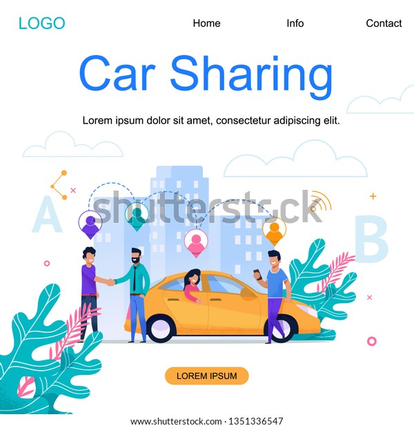 Car Sharing Square Banner Modern Town Stock Vector Royalty Free