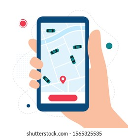 Car Sharing, Taxi, Rent a car App Concept. Hand holding smartphone with carsharing app and location. Vector illustration in flat style
