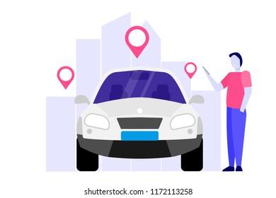 Car Sharing, Transport renting service concept. Vector illustration.