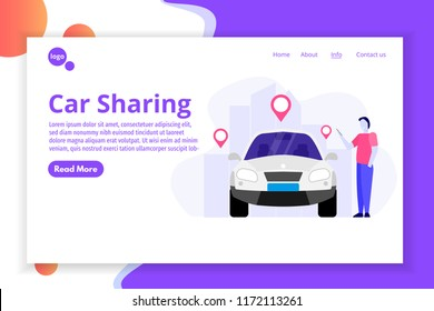 Car Sharing, Transport renting service concept. Web,  landing page template Vector illustration.