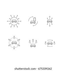 car sharing vector icon set
