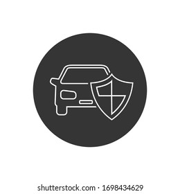 Car shield line icon on white vector