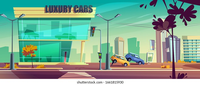 Car showroom with automobiles on stand on city street. Vector cartoon urban landscape with auto dealership of luxury cars. Building of vehicle shop with exhibition models outdoor