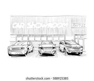 Car showroom exterior design sketch. Hand drawn vector illustration