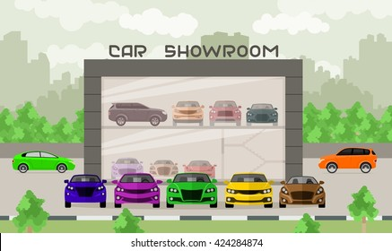 Car showroom illustration. Car dealership center. Flat illustration with new vehicles showroom