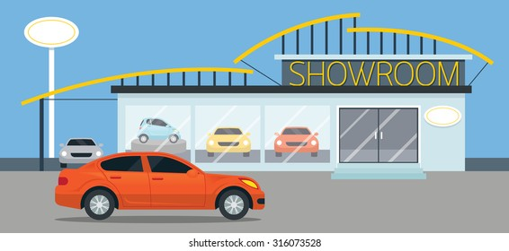 Car Showroom Illustration, Flat Design, Panorama, Automobile,