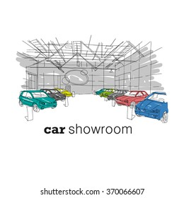 Car showroom interior design sketch. Hand drawn vector illustration