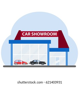 Car showroom on a blue background. Flat design, vector illustration, vector.
