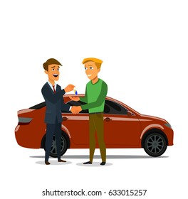 Car showroom. Purchase sale or rental car. Seller man hands over the keys of the car owner. Vector illustration in a flat style