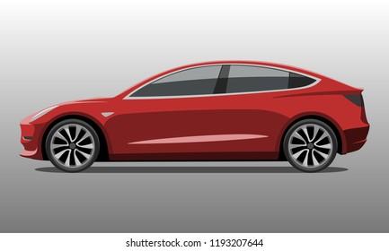 Car side in red color detailed vector illustration.
