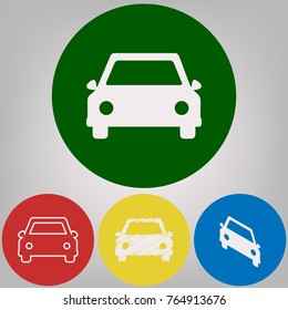 Car sign illustration. Vector. 4 white styles of icon at 4 colored circles on light gray background.