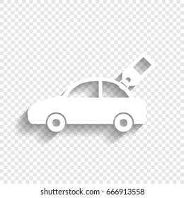 Car sign with tag. Vector. White icon with soft shadow on transparent background.