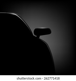 Car silhouette on a black background. Vector image.