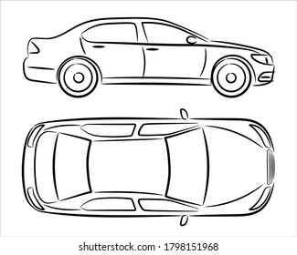 Car silhouette on white background. Vehicle icons set view from side and top