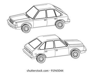 car silhouette on white background, vector illustration