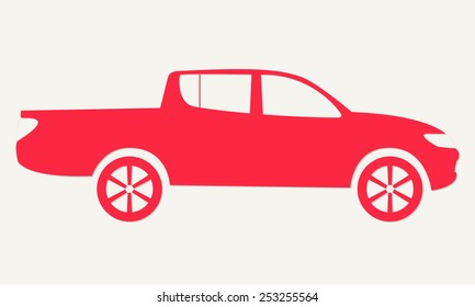 Car silhouette. Red pickup vehicle icon. Vector illustration.