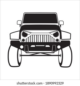 car silhouette Vector illustration black and white suv truck big car drawing monochrome modern vector lines icon