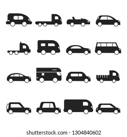 Car silhouettes icon. Type of transport minivan truck suv micro van vector black symbols